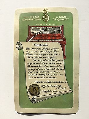 Vintage The Standard Player Action Advertising Card with 1924-25 Calendar