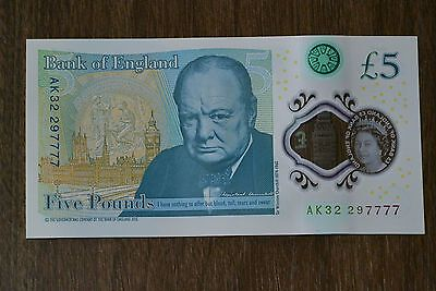 New Uncirculated Polymer £5 Note Rare Serial Number 7777
