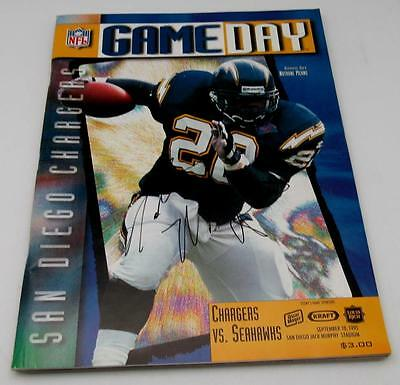Natrone Means San Diego Chargers Game Day Signed Program Sept 10 1995