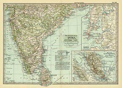 1899 Southern India Bombay Ceylon Original Antique Color Map
