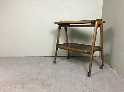Retro 2 Tier Wooden Tea Trolley With Removable Tray
