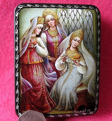 Russian GICLEE Lacquer Box Small The Tale of Silver Saucer and Russet Apple GIFT