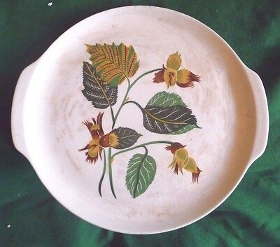 """Universal Ballerina China  Cake Plate Handled Green Gold 11 7/8"""" Oven Proof"""