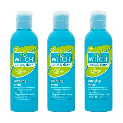 3 x WITCH NATURALLY CLEAR CLEANSING LOTION OILY SKIN NON DRYING OIL-FREE 200ml