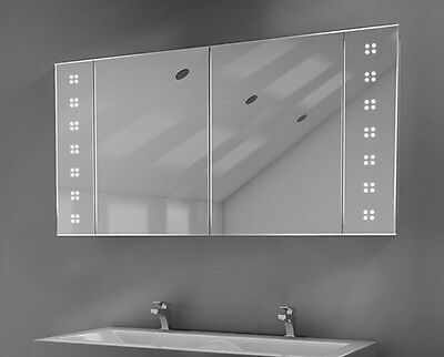 LED Bathroom Mirrored Cabinet with Sensor, Shaver and Shelves - c21