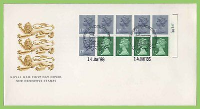 G.B. 1986 (Jan) £1.50 Pl. booklet pane on Royal Mail First Day Cover, Windsor