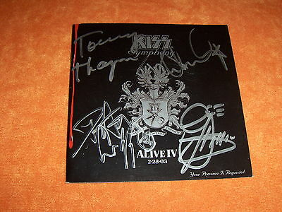 "Kiss Signed by PETER CRISS , Gene , Paul , Tommy CD Booklet ""Symphony: Alive IV"""