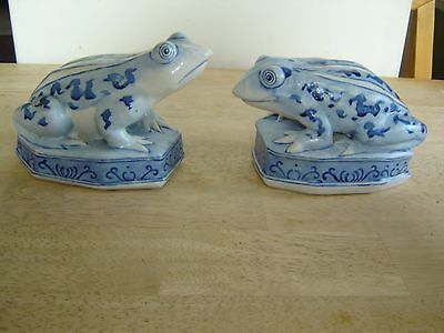 Frog Figurines Statue Blue and White Frogs or Toads - Set of 2