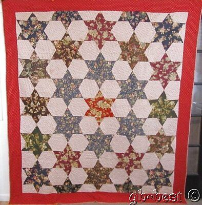 """Christmas Red! 1890s Touching Mosaic Stars Antique QUILT 91 x 81 """" AWESOME"""