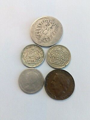 Lot 5 (1 Silver) Coins EUROPE Ideal for beginners. See description.