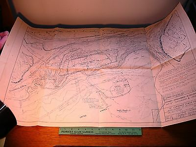 Rare Vintage 1958 Blueprint / Map St. Lawrence River NY Power Channel Project