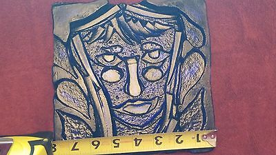 ART DECO PLATE BLUE WOMAN FACE 8X8 in NICE PRESSED GLASS