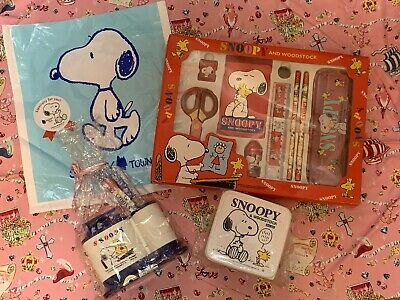 Snoopy & Woodstock Vintage Bento Lunch Box Container Rare