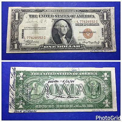 *INCREDIBLE-SHORT SNORTER-WWII* $1 1935-A Hawaii Emergency Issue Note L-C Block