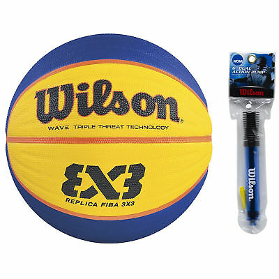 Wilson 3x3 FIBA Replica Game Basketball (Yellow and Blue) w/ 6'' Inflation Pump