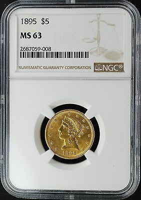 1895 $5 Liberty Head Gold Half Eagle, Ngc Ms63