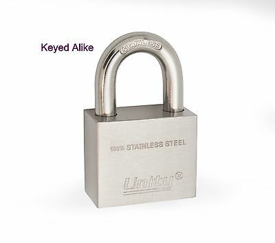 "Keyed Alike 100% Stainless Steel Padlock 1-1/2"", Marine lock, all weather proof"