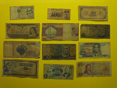 12 world paper bank notes