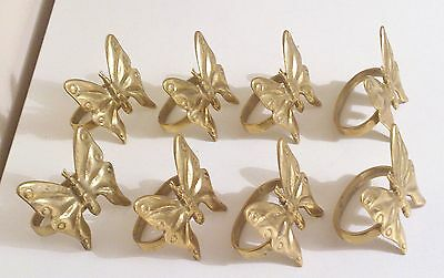 Lovely Set Of Eight Vintage Solid Brass Butterfly Napkin Rings