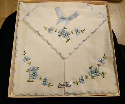 Vintage Ladies Embroided Handkerchiefs Set By St Michael