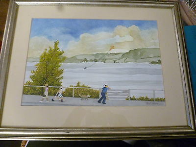 original watercolour painting of estuary scene by Ted Ware 2004 framed