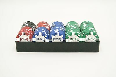 Poker Chips -100 Count -8 Gram Clay -4 Values -Bicycle Brand -Tournament Quality