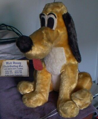 "16"" vintage Disney Pluto plush toy - RARE w/tongue and tag"