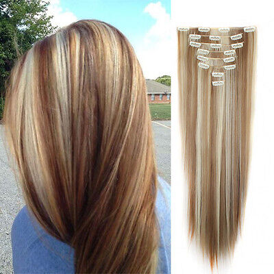 "UK Seller Clip in Hair Extensions Full Head Straight 26""Ginger Mix Bleach Blonde"