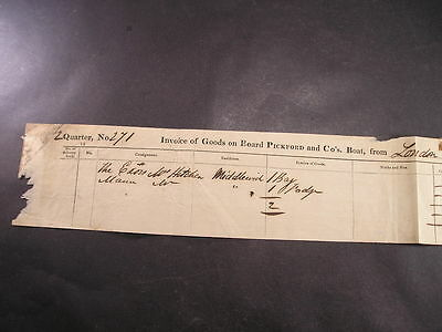 c1842 Pickfords Boat Co Goods Invoice from London to Middlewich