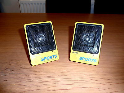 RARE  2 x VINTAGE SONY SPORTS ACTIVE SPEAKERS SRS-35 for walkman