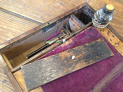Antique Distressed Wooden Writing Slope Box Stationary Compartments Gold Ink