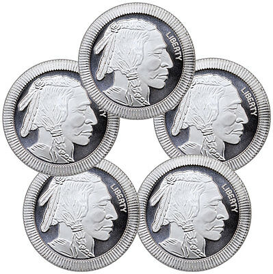 1 oz. Silver American Indian Buffalo Stacker Round - Lot of 5 Rounds SKU45165