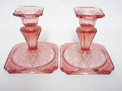 Pink Adam Candle Holder Set / Guaranteed OLD / Jeannette Glass Co