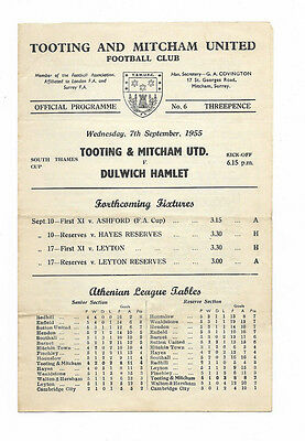 1955/56 South Thames Cup - TOOTING & MITCHAM UNITED v. DULWICH HAMLET