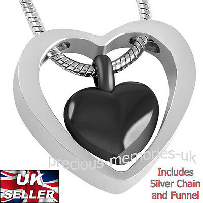 Black Heart Memorial Ashes Necklace Funeral Cremation Jewellery Ash Urn Pendant