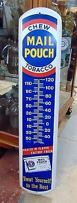 Vintage Original Mail Pouch Chewing Tobacco Thermometer Sign Metal Man Cave