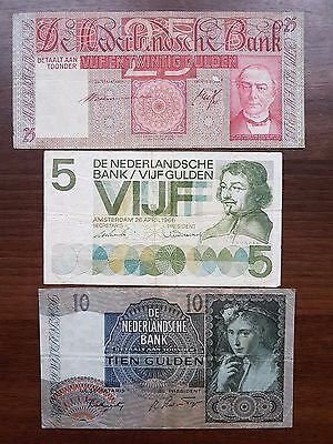 Netherlands gulden 1940 - 1966 lot banknote