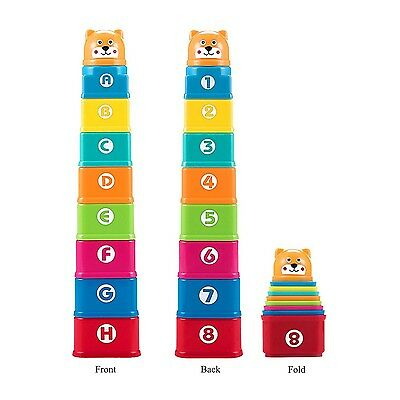 Kidcia My First Square Nesting & Stacking Cups with Numbers Letters & Animals...