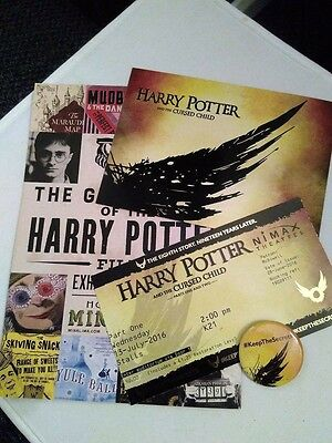 Harry Potter And The Cursed Child Bundle Ticket, Keep The Secret Badge, Postcard
