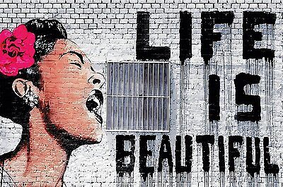 Banksy Life Is Beautiful Xxl Wallpaper Mural Street Art Graffiti