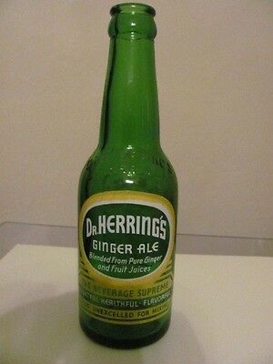 Dr Herring's Ginger Ale Empty 8 oz Green Glass Bottle Free Shipping in U. S.