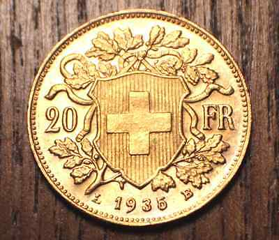 1935 20 Franc Gold Swiss Helvetia   ( .1867 Oz of pure gold )