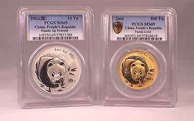 2003 1 Oz Gold ( 500 Yn ) and 1 Oz Silver ( 10 Yn ) Pandas   Both PCGS MS 69