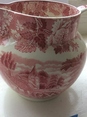 Red And White Enoch Woods Ware Transferware English Scenery Ironstone Pitcher