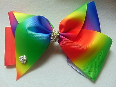 Large Hair Bow rainbow Bows Dance Moms girls  accessories kids clips 8 inch
