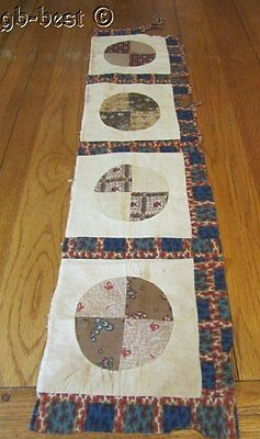 Antique c 1840s Quilt Top Piece BLUES Sampler frame study 39 x 9""