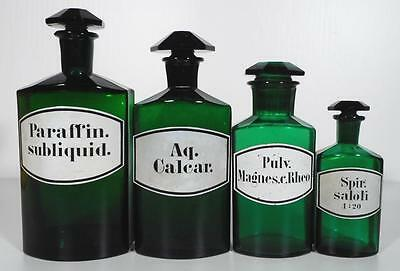 19c. Collection Of Green German Pharmacy Apothecary Jars