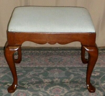 PENNSYLVANIA HOUSE CHERRY FOOT STOOL Queen Anne Upholstered Bench VINTAGE