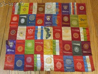45 Antique c 1900s Tobacco Silks QUILT Piece COLLEGES frame or study 16 x 14.5""