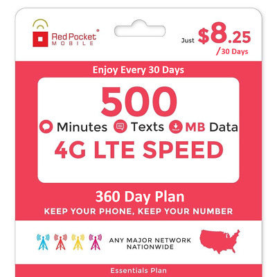 Red Pocket 1 Year Prepaid Wireless Phone Plan (Essentials) -No Contract, Renewal